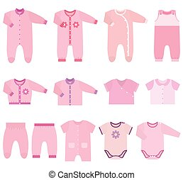 Vector icons of baby clothes for girls