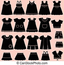 Vector icons of baby summer clothes