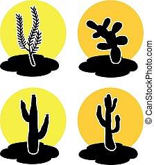 vector icons of cactus in desert