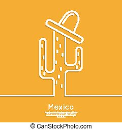Vector icons of cactus in the desert with sombrero. Outline...