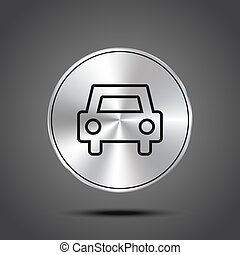 vector icons of car metallic isolated on dark background