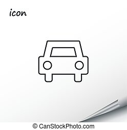 vector icons of car on a wrapped silver sheet