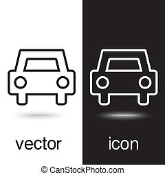 vector icons of car on black and white background