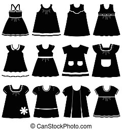Vector icons of children's dresses
