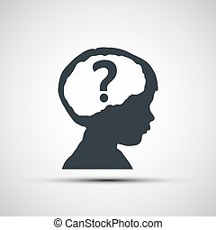 Vector icons of children's heads with a question mark