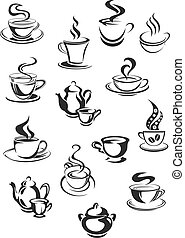 Vector icons of coffee or tea cups set for cafe