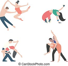 Vector icons of dance