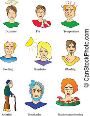 icons of diseases and symptoms - vector icons of diseases...