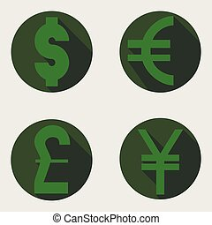 vector icons of dollar, euro, pound and yen