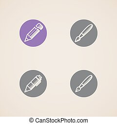 vector icons of drawing and writing tools
