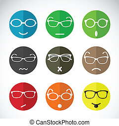 Vector icons of faces with eyeglasses.