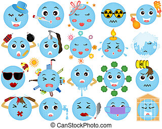 Vector Icons of Global warming