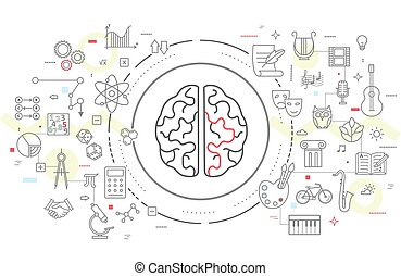 Vector icons of human brain activity.