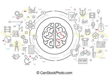 Human brain activity  Brain model xray look isolated on blue