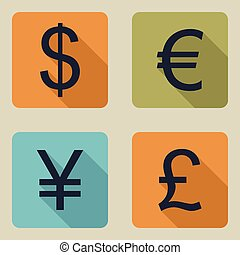 Vector icons of money.