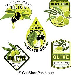 Vector icons of olives and Italian olive oil