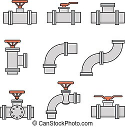Vector icons of pipe connector, valve for plumbing, piping work.