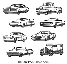 Vector icons of retro cars and vintage automobiles - Retro...