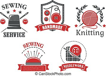 Vector icons of sewing knitting needlework service - Sewing...