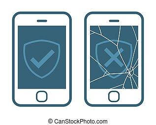 Vector icons of smart phone with broken screen