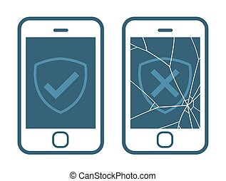 Vector icons of smart phone with broken screen