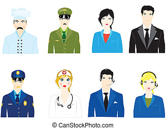 Vector icons of the people varied profession on white background