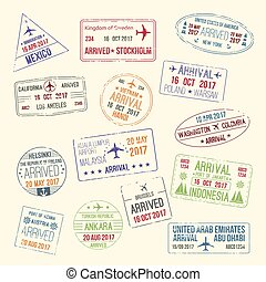 Vector icons of travel city passport stamp - Passport travel...