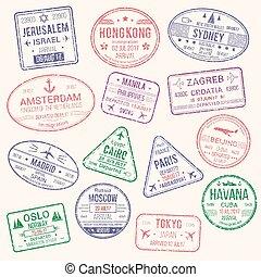 Vector icons of travel city passport stamp