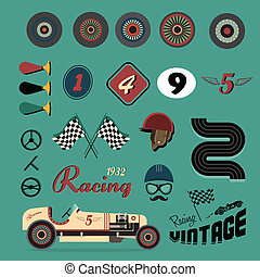 Vector icons of vintage car racing - Vector icon set of...