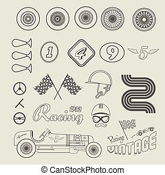 Vector icons of vintage car racing