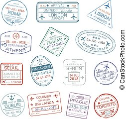 Vector icons of world travel city passport stamps
