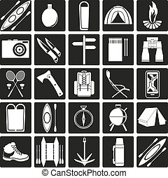 Vector icons on the theme of tourism