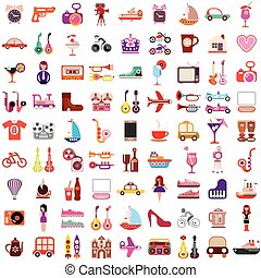 Vector icons on white background