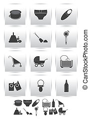 Vector icons set . baby toys