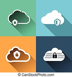 Vector icons set for cloud security