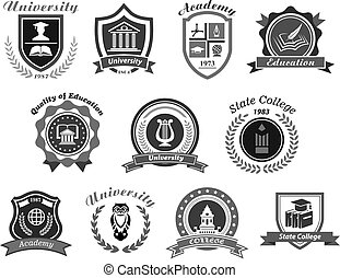 Vector icons set for college or state university