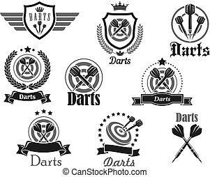 Vector icons set for darts club sport tournament