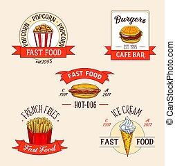Vector icons set for fast food restuarant