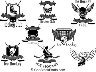 Vector icons set for ice hockey club
