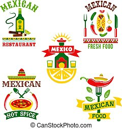 Vector icons set for mexican restaurant