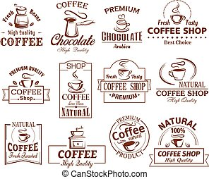 Vector icons set of coffee cups for coffeeshop - Coffee cup...