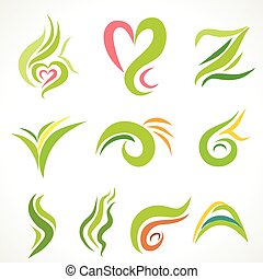 Vector  icons, set of decorative wavy shapes