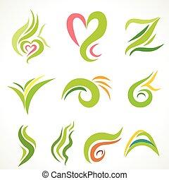 Vector icons, set of decorative wavy shapes