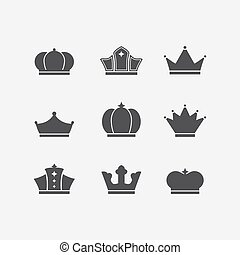 Vector icons set of different black crowns shapes, signs - ...