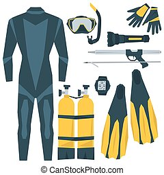 Vector icons set of diving equipment