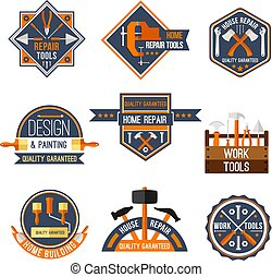 Vector icons set of home repair work tools