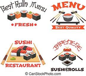 Vector icons set of Japanese restaurant sushi menu - Sushi...