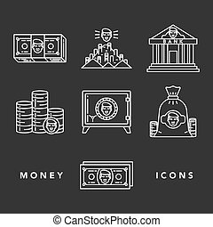Money and financial institutions topic. - Vector icons set ...