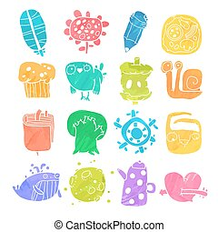 Vector Icons Set of Watercolor Cartoon Objects and Characters