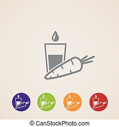 vector icons set with a carrot and glass of juice. Healthy food concept